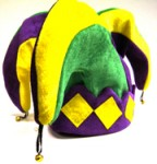 Jester Hat with Bells - Purple, Green and Gold