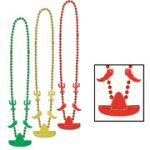 Fiesta Metallic Plastic Bead Necklaces