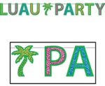 8 Foot Glittered LUAU PARTY Letter Streamer
