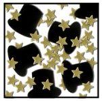 Confetti - Black Top Hats Gold Stars Hollywood Oscar Grammy