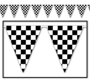 Black White Check Racing Pennant Banner