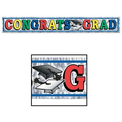 Metallic Congrats Grad Fringe Banner