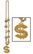 Gold Metallic Bead Necklace with Dollar Signs