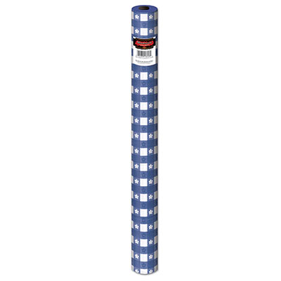 Blue Gingham Plastic Table Roll