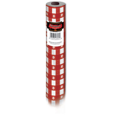 Red Gingham Plastic Table Roll