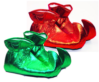 Lame Fabric Elf Shoes - Red or Green