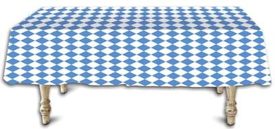 Blue White Diamond Printed Plastic Table Cover