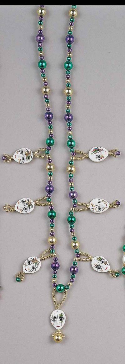 Deluxe Mardi Gras Bead Necklace with Faces