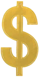 16 Inch Gold Foil Dollar Sign Cutout Casino Monte Carlo