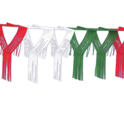 Red, White and Green Drop Fringe Garland
