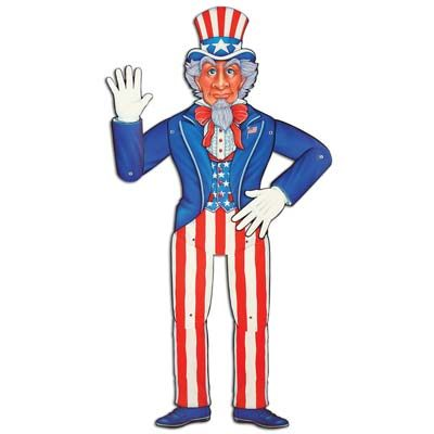 Jointed Uncle Sam Patriotic Decoration