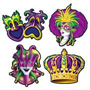 Mardi Gras Cutouts - 4 Pack