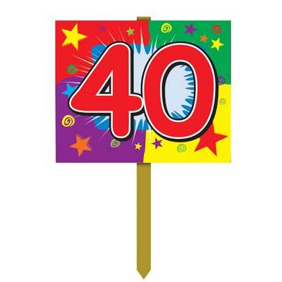 Number 40 Yard Sign