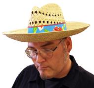 Natural Straw Hat W/Luau Fabric Band
