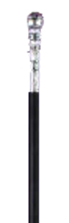 Black Plastic Cane with Silver Top