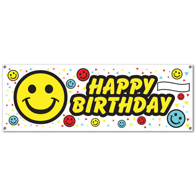 Smile Face 5' X 21'' Plastic Sign Banner