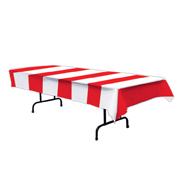 Red and White Wide Striped Plastic Tablecover