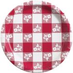 Red Gingham 9 Inch Paper Plates