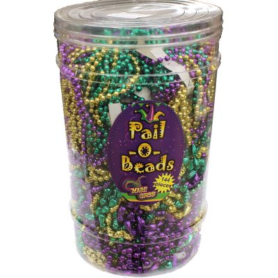 Mardi Gras Pail o' Beads Throw Necklaces