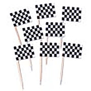 "2.5"" Black and White Checkered Toothpick Race Flags"