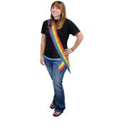 Rainbow Striped Satin Sash