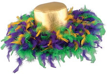 Mardi Gras Feathered Wide Brim Hat