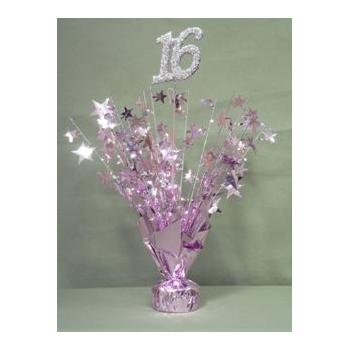 Pink 16th Birthday Balloon Weight Centerpiece