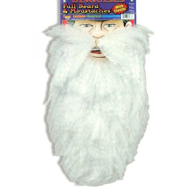 Long full White Beard w Mustache