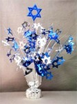Blue and Silver Star Of David Balloon Centerpiece