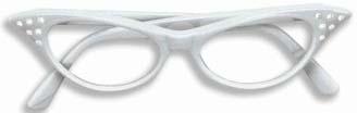 Cats Eye glasses w/ Rhinestones - white