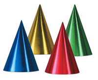 Metallic Foil Cardboard Small Conical Hats