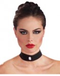 Black Velvet Choker with Clear Gem