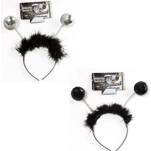 Sequin Ball Headband Black or Silver Sequins