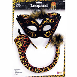 leopard ear tail mask costume accessory set