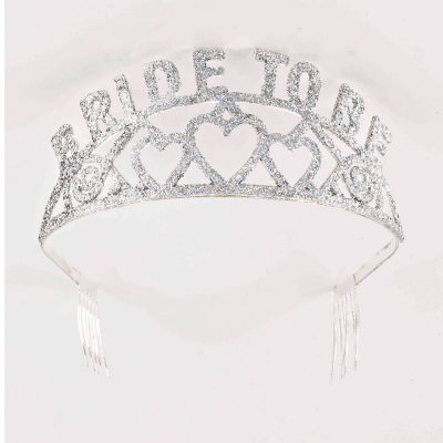 Bride to Be Silver Glitter metal Tiara