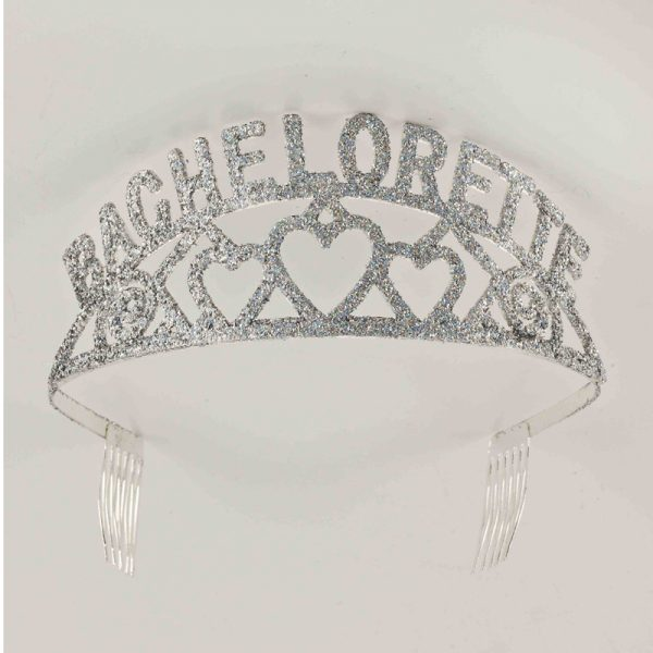 BACHELORETTE Silver Glittered Tiara