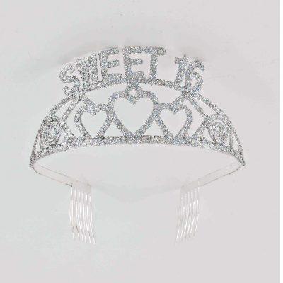 Sweet 16 Silver Glittered Tiara