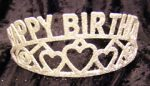 HAPPY BIRTHDAY Silver Glittered Tiara