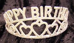 HAPPY BIRTHDAY Silver Glittered Tiara