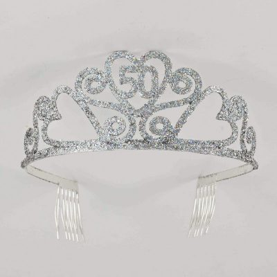 Birthday Silver Glitter Tiara - 50