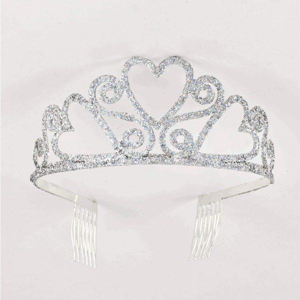 Silver Glitter Metal Tiara - Hearts