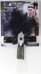 Sequin Flapper headband w/ Feathers & Beaded Trim