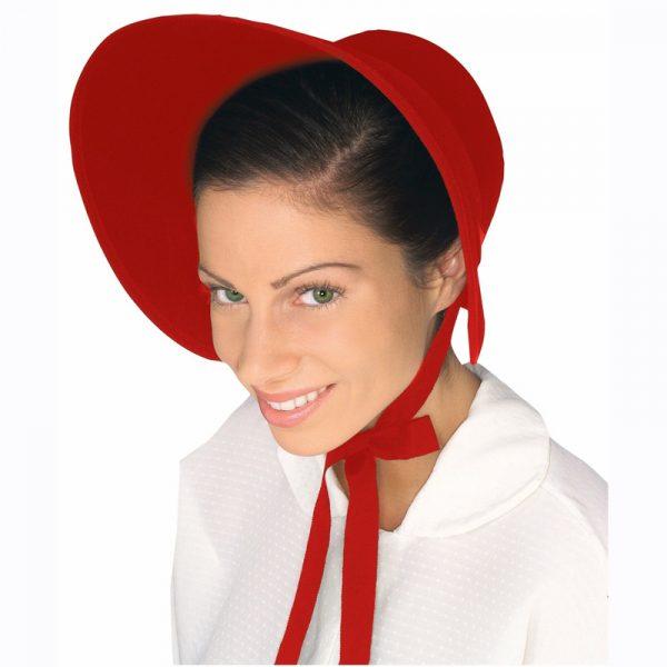 red felt bonnet
