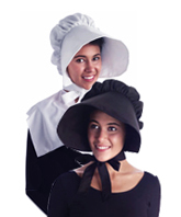 Soft Fabric Bonnet with Ties- Black or White