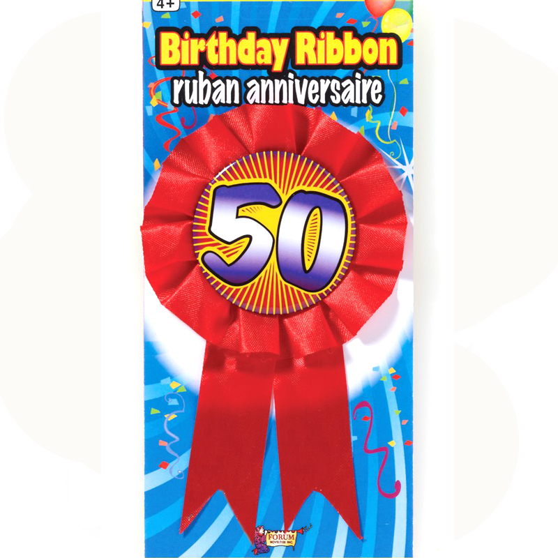 birthday award ribbon rosette 50