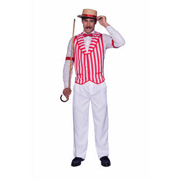 Fabric Barber-Shop Quartet Vest - Red/White
