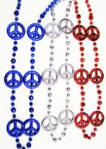 Metallic Peace Sign Bead Necklaces