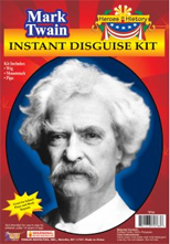 Mark Twain Disguise White hair moustache pipe