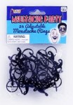 Black Plastic Mini Moustache Rings - 24 Pack