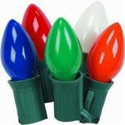 25 Light C-7 Electric Light Set - Multi Color Bulbs